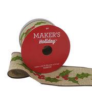Maker's Holiday Christmas Linen Ribbon 2.5''x25'-Holly, , hi-res