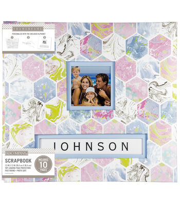 K&Company 12''x12'' Frame-A-Name Scrapbook-Marbled Hexagon