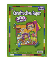 "Construction Paper Pad 9""X12"" 200/Pkg-Assorted Colors, , hi-res"