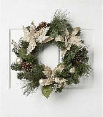 Blooming Holiday Poinsettia Wreath-Chapmpagne