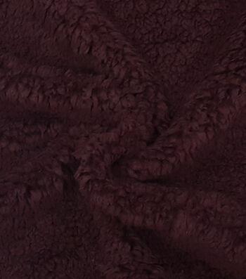 "Fashion Faux Fur Fabric 57""-Wine Sherpa"
