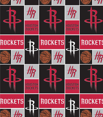 "Houstan Rockets Cotton Fabric 44""-Logo Block"
