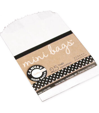 Canvas Corp 25 pk 4''x2.5'' Mini Gift Bags-White