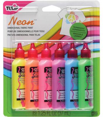Tulip 3D Fashion Paint 1-1/4 Ounces 6/Pkg-Neon