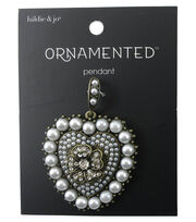 hildie & jo™ Ornamented Heart Antique Gold Pendant-Pearl & Crystal, , hi-res