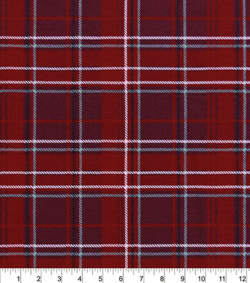 """Snuggle Flannel Fabric 42""""-Red Gray Plaid"""