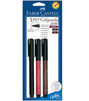 PITT Calligraphy Pen 2mm Chisel Tip 3/Pkg-Cranberry Red, Black, Sepia, , hi-res