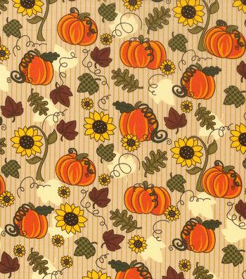 "Harvest Cotton Fabric 43""-Pumpkins & Sunflowers"