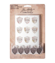 "Idea-Ology Antique Metal Charms 5/Pkg-Shield .75""X1"", , hi-res"