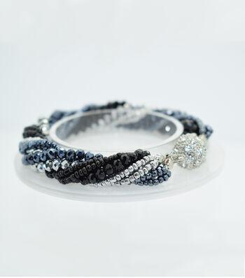Crystal Multi Strand Bracelet-Black & Silver
