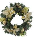 Holiday Cheer Poinsettia Pomegranate Pinecone Wreath-Gold