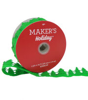 Maker's Holiday Christmas Felt Cutout Xmas Tree Ribbon 1.5''x25'-Green, , hi-res