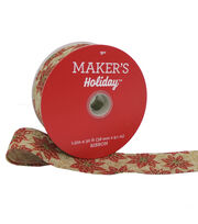 Maker's Holiday Christmas Ribbon 1.5''x30'-Red Poinsettia on Natural, , hi-res