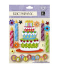 K&Company 14 pk Dimensional Stickers-Birthday Cake & Candles