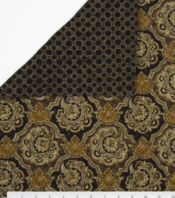 "Double Faced Pre-Quilted Cotton Fabric 42""-Black/Brown Floral & Rings"