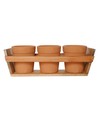 Bloom Room 3ct 5'' Tall Clay Pots With Wood Tray-Orange