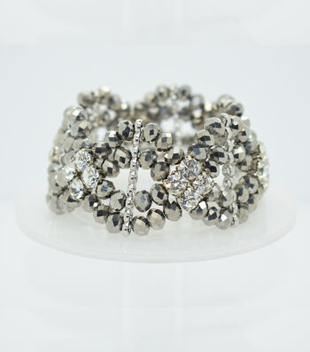Crystal Diamond Style Bracelet-Silver