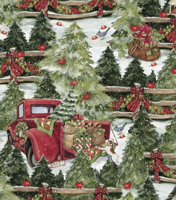 "Christmas Cotton Fabric 43""-Pine Trees & Fences"