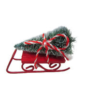 Maker's Holiday Christmas Littles Red Sled with Sisal Tree, , hi-res
