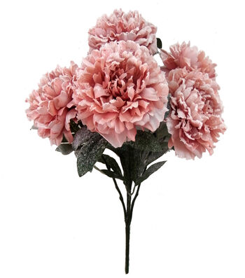 Blooming Holiday Christmas 19'' Peony Spray with Snow-Pink