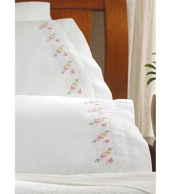 "Bucilla Pillowcase Pair Stamped Embroidery 20""X30""-Pretty Posies"