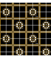 "Boston Bruins Flannel Fabric 44""-Plaid, , hi-res"