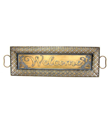 Fall Into Color Metal Tray Welcome Wall Decor