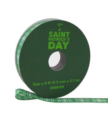 St. Patrick's Day Ribbon 3/8''x9'-Green Plaid
