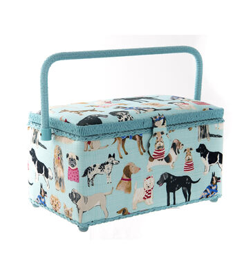 Medium Rectangle Sewing Basket-Aqua Dogs