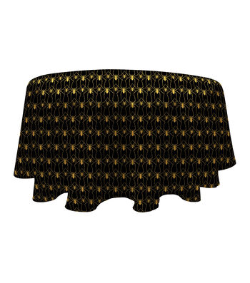 Maker's Halloween 60'' Round PEVA Tablecloth-Spiders