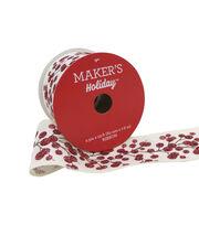 Maker's Holiday Christmas Linen Ribbon 2.5''x25'-Glitter Berry on White, , hi-res