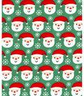 Holiday Showcase™ Christmas Cotton Fabric 43\u0027\u0027-Ditsy Santa & Snowflakes on Green
