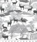 Snuggle Flannel Fabric 42\u0027\u0027-Silhouette Deer Winter