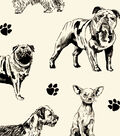 Anti-Pill Fleece Fabric 59\u0022-Sketched Dogs On White