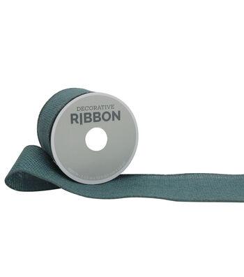 "Decorative Ribbon 2.5"" Solid Burlap Ribbon-Teal"