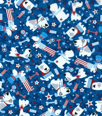 Patriotic Cotton Fabric 43''-Puppy