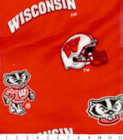 "University of Wisconsin Badgers Fleece Fabric 58""-Allover Red, , hi-res"