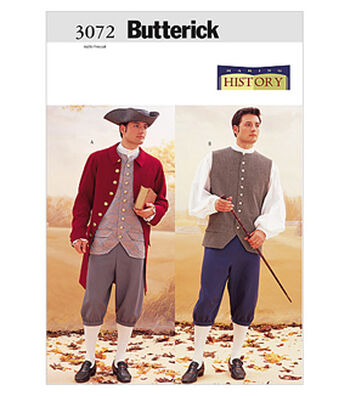 Butterick Pattern B3072-Mens Costume-Coat, Vest, Shirt, Pants and Hat