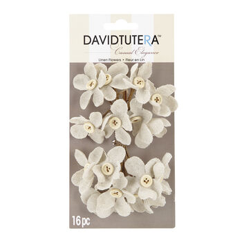 David Tutera™ Casual Elegance Cream Linen Flower Picks, Button Accent