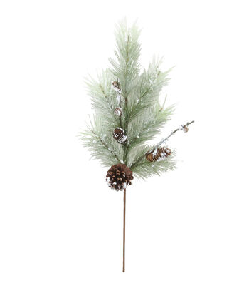 "Blooming Holiday 29"" Pinecone Long Needle Spray-Light Green"