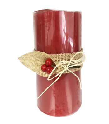 Maker's Holiday Christmas 3''x6'' LED Candle with Berries-Red