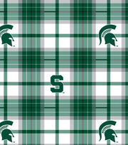 "Michigan State University Spartans Fleece Fabric 58""-Plaid, , hi-res"