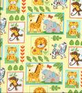Nursery Cotton Fabric 43\u0022-Zoo Animal Blocks