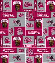 "University of Montana Grizzlies  Fleece Fabric 60""-Red & Gray Block, , hi-res"