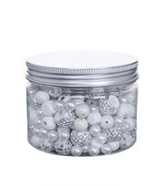 hildie & jo™ Assorted Fashion Beads in Plastic Jar-Silver & White, , hi-res