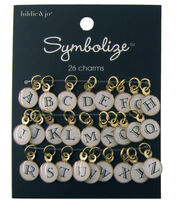 hildie & jo™ Symbolize 26 Pack Gold Charms-Black Alphabet on White, , hi-res