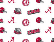 "University of Alabama Crimson Tide Cotton Fabric 44""-White All Over, , hi-res"