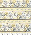Keepsake Calico Fabric - Floral Stripe Turq Yellow