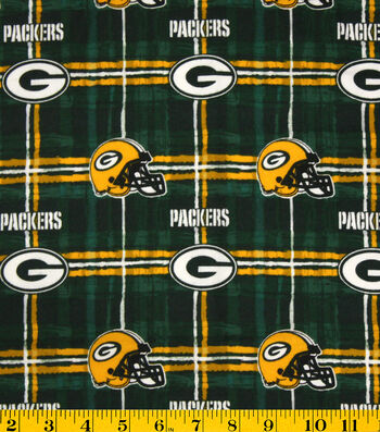 "Green Bay Packers Flannel Fabric 42""-Plaid"