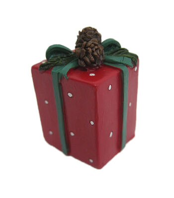 Maker's Holiday Christmas Littles Resin Red Present with Green Bow